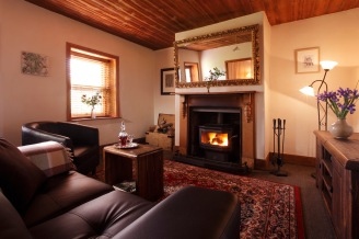 Living room with wood heater